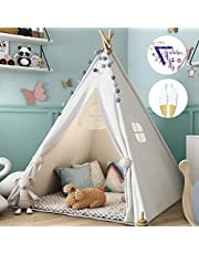 Kids Teepee Tent with Bunting and Feathers, Teepee Tent for Kids Toys for Boys and Girls Portable Children Playhouse Kids Play Tent for Indoor & Outdoor Use (White)