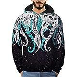 AIEason Men top Mens 3D Printed Octopus Pullover Long Sleeve Hooded Sweatshirt Tops Blouse