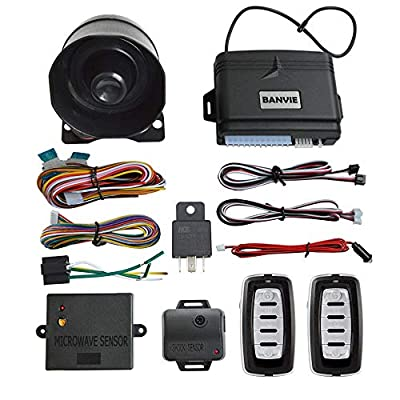 BANVIE Universal1-Way Car Keyless Entry Security Alarm System with Shock Sensor & Microwave Sensor and Two 5-Button Remotes