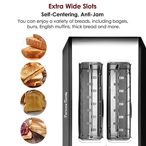 Fortune Candy Stainless Steel 2 Slices toaster, black toaster With Extra Wide Slot, 7-Shade Control by Fortune Candy (Image #1)'