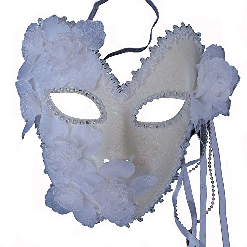 Venetian Costumes For Women (ZjpMask Flower Venetian Masquerade Full Face Lace Women Eye Mask for Costume Mardi Gras (White))