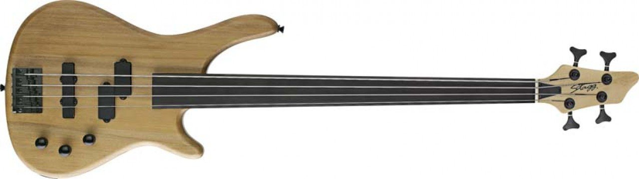 Stagg BC300FL-NS 4 String Fretless Electric Bass Guitar, Natural Semi-Gloss