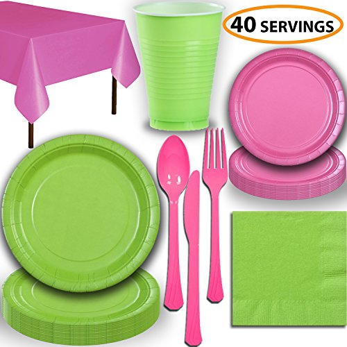 Disposable Party Supplies, Serves 40 - Lime Green and Hot Pink - Large and Small Paper Plates, 12 oz Plastic Cups, heavyweight Cutlery, Napkins, and Tablecloths. Full Two-Tone Tableware Set
