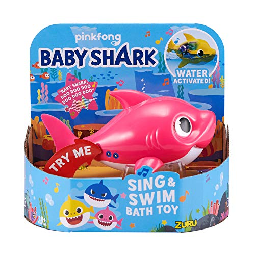 Robo Alive Junior Baby Shark Battery-Powered Sing and Swim Bath Toy by ZURU - Mommy Shark (Pink)
