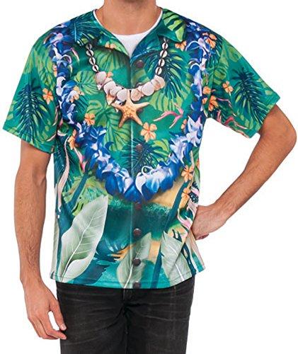 Hawaiian Tourist Costume (Men's Classic Hawaiian Tourist Graphic Shirt Costume Large 42-46)
