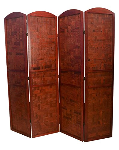 Room divider 4 panels with solid paulownia wood frame and woven bamboo panels red mahogany finish oriental partition screen Oriental Wood Divider