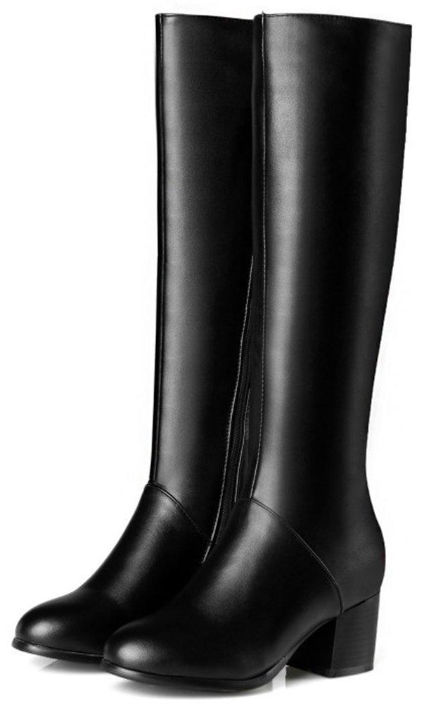 Mofri Women's Dressy Block Medium Heel Round Toe Side Zipper Under The Knee High Riding Boots (Black, 7 B(M) US) by Mofri (Image #3)
