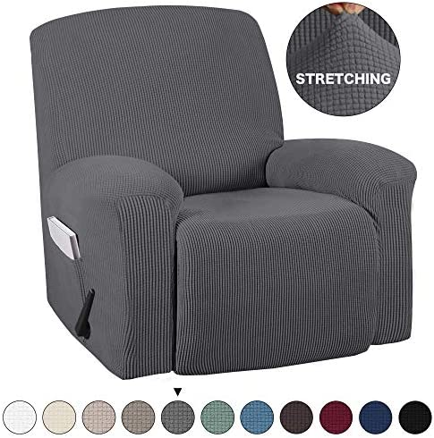 Stretch To Fit One Piece Lazy Boy Chair Recliner Slipcover MB Home Linen Stretch Fit Furniture Chair Recliner Cover With 3 Foam Pieces to Hid Extra Fabric Chocolate// Brown 4 ELASTIC STRAPS for Cover Stability