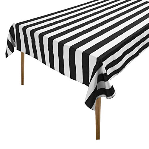 lovemyfabric Cotton 2 inch Black & White Stripes Tablecloth for Wedding/Bridal Shower, Birthdays, Special Events (58