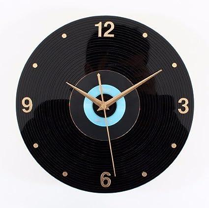 YingQinClan Reloj de Pared Golden Years Clásico Retro Nostálgico Digital 3D Estéreo Vinilo CD Grabación Silencio