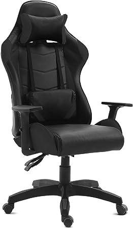 Comprar GAMING - Silla gamer oficina gaming, sillon escritorio ergonómico despacho giratoria color negro, reclinable ajustable con reposabrazos, 5 ruedas