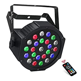 24W Stage Light, LaluceNatz 24 Led RGBW Par Light 8 Channels Sound Activated Battery Powered Dj Light Controlled by IR…