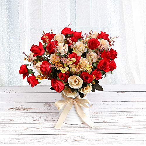 LY EMMET Artificial Rose Bouquets with Ceramics Vase Fake Silk Rose Flowers Decoration for Table Home Office Wedding-Red (Decoration Flowers For Office)