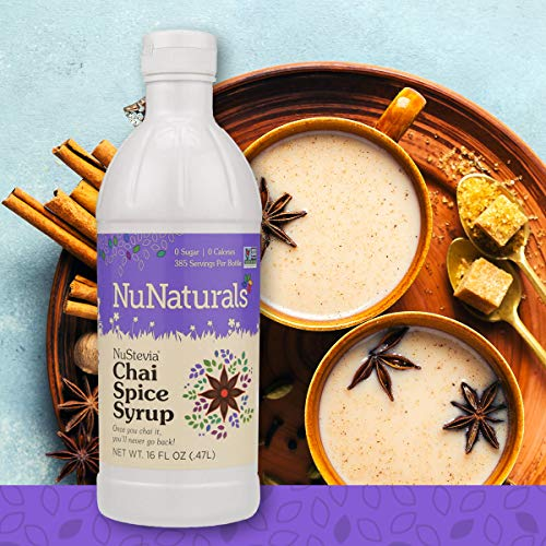 NuNaturals NuStevia Sugar-Free Chai Spice Syrup Natural Stevia Sweetener with 0 Calories, 0 Sugar, 0 Carbs (16 ()