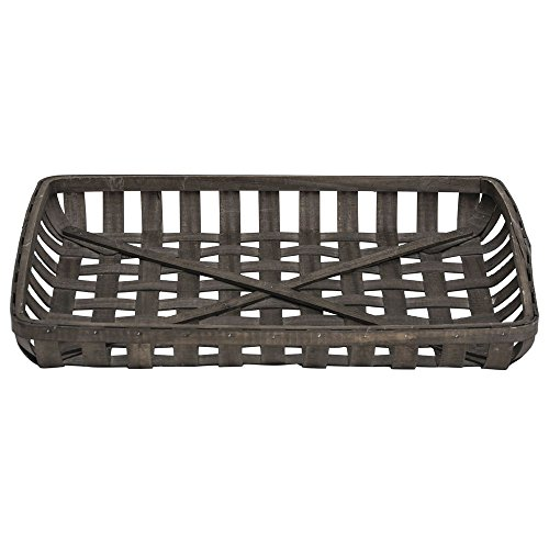 Expressly Hubert Rectangular Chip Wood Tobacco Basket - 26 1/2''L x 20''W x 3 1/2''H by Hubert