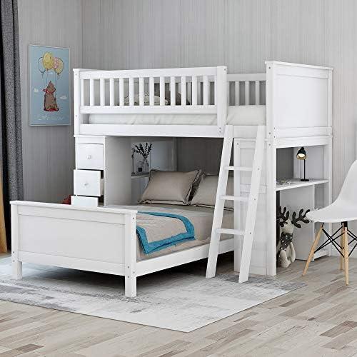 Litera Individual de tamaño Completo con escritorios y cajones para niños: Amazon.es: Hogar