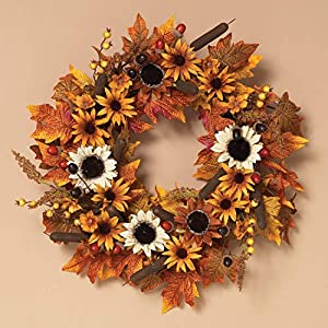 Silk Flower Arrangements One Holiday Way 24-Inch Traditional Autumn Harvest Wreath with Flowers, Cattails and Berries - Hanging Fall Door Decoration