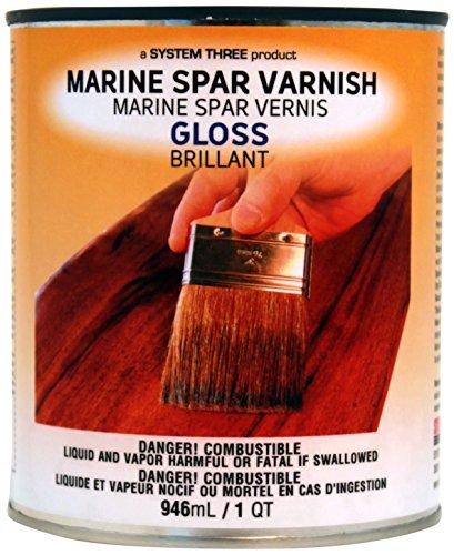 System Three 1850S16 Clear Marine Spar Urethane Varnish Coating, 1 Quart Can