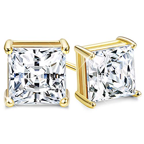 (Sllaiss Set with Swarovski Zirconia Stud Earrings for Women Made of Sterling Silver 4-Prongs Princess-Cut CZ 2.00cttw Hypoallergenic (18k gold -plated-silver,)