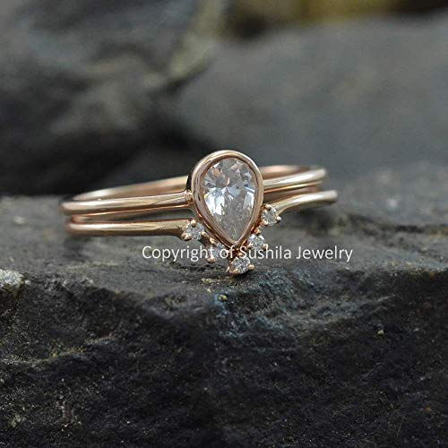 Unique Pear Shaped White Topaz Engagement Ring Boho Bridal Ring Set in Solid 14k Real Yellow Gold Wedding Band Ring Fine Handmade Jewelry