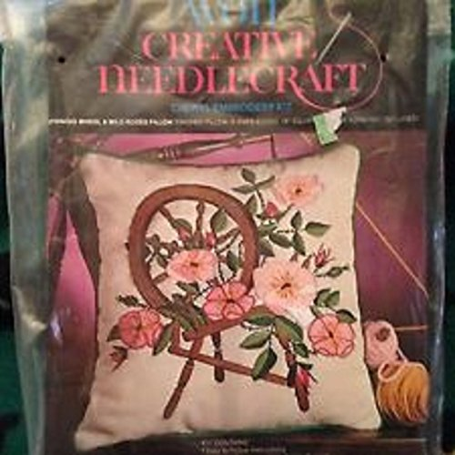Avon Creative Needlecraft Crewel Embroidery Kit Spinning Wheel & Wild Roses Pillow ()
