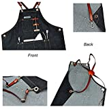 Boshiho Denim Jean Work Apron - Adjustable Bib Chef