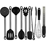 IdealHouse 9 Piece Silicone Kitchen Cooking Utensil Sets Nonstick Kitchen Spatula Set.