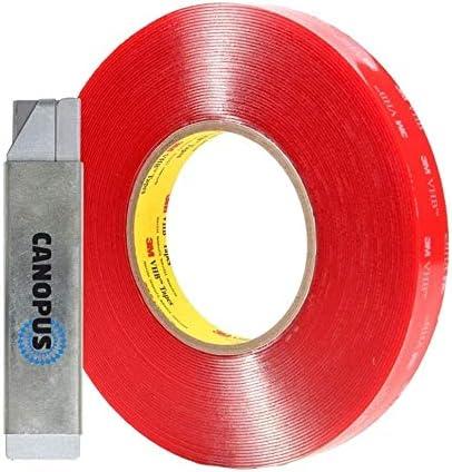 6,35 mm x 4,5 m Extra Forte Nastro biadesivo trasparente CANOPUS 3M VHB 4910, ideale per il collegamento di materiali trasparenti nastro adesivo resistente alle alte temperature
