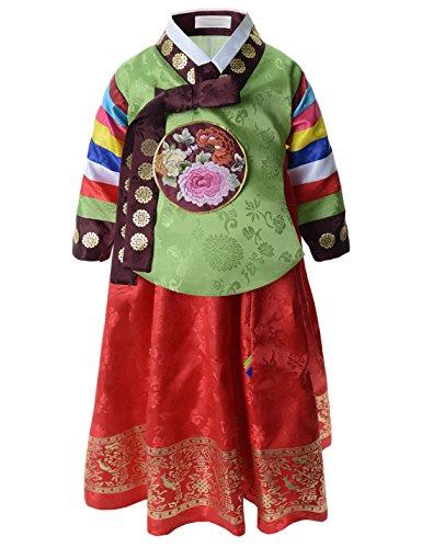 (KH045) Little Girls Timeless Exotic Fashion Hanbok Traditional Korean Dress Set GREENRED X-Large(US 5T)