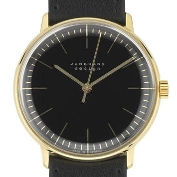 Armbanduhr Max Bill - vergoldet - Strichblatt schwarz - Armband schwarz [A]