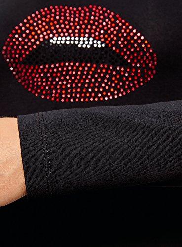 oodji Collection Donna T-Shirt con Maniche Lunghe Senza Etichetta Nero (2910p)