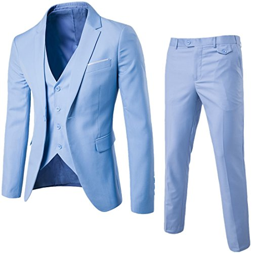 WULFUL Men's Suit Slim Fit One Button 3-Piece Suit Blazer Dress Business Wedding Party Jacket Vest & Pants Light Blue