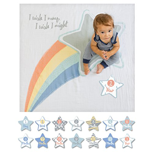 lulujo Baby First Year Milestone Blanket and Cards Set, I Wish I May