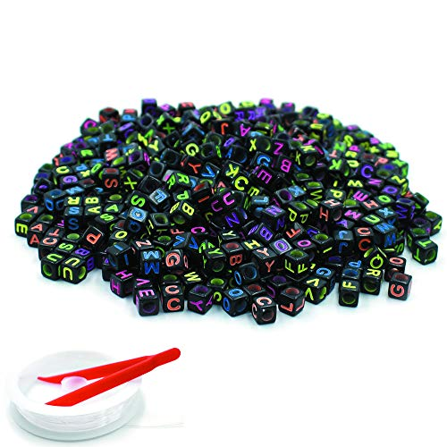 Mini Cube Beads (HZOnline Black Acrylic Letter Beads with Colorful Letters Alphabet