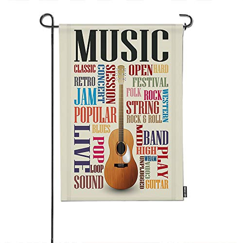HGOD DESIGNS Music Garden Flag,Abstract Music Poster with Classic Guitar and Quote Welcome Decorative Garden Flags Cotton Linen Waterproof for Garden Banner 12