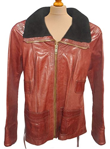 1960's Jacket Leather Womens (NM Fashions Women Mouton Coller Vintage 1960s -70s East Geniune Leather Jacket)