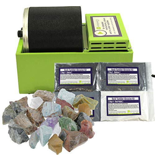 WireJewelry Single Barrel Rotary Rock Tumbler Starter Kit, Includes 1.5 Pounds of Rough Madagascar Stone Mix and a Single Batch of 4 Step Abrasive Grit and Polish