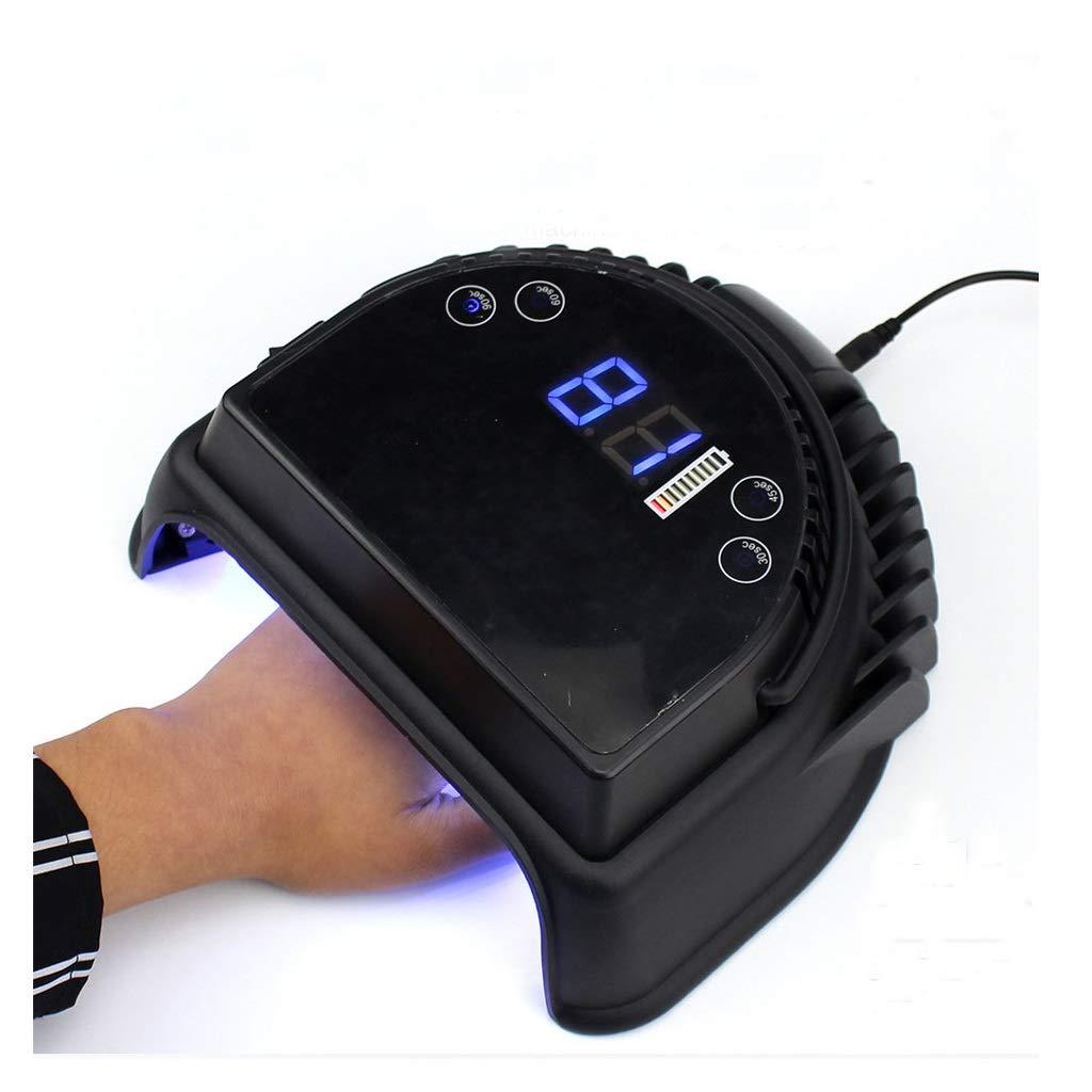 LEDネイルランプ、64Wハイパワーストレージタイプインテリジェント光線療法ネイルマシン永続的なバッテリー寿命内蔵リチウム電池マルチスピードタイミングクイックドライ (色 : ブラック)  ブラック B07QGDGWZY