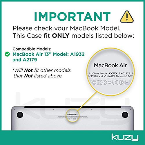 Kuzy MacBook Air 13 inch Case 2020 2019 2018 Release A2179 A1932 Soft Touch (Newest Version) Hard Shell Cover for 13 inch MacBook Air Case with Retina Display, MacBook Air 2020 Case, Black