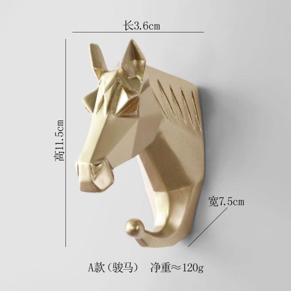 WANDOM Gancho llave del porche en casa gancho para colgar creativo gancho para colgar en la pared perchero abrigo con gancho oro rico (caballo)