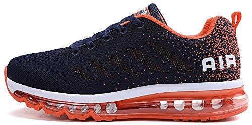 TQGOLD Men's Women's Air Cushion Athletic Running Shoes Lightweight Sport Gym Jogging Walking Shoes (Blue Orange,Size 7.5/Size 6.5) (Best Walking Jogging Shoes For Women)