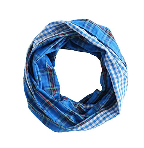 Radiant & Resilient Women Cotton Infinity Scarf, Plaid Infinity Scarf (Blue/White/Red) ()