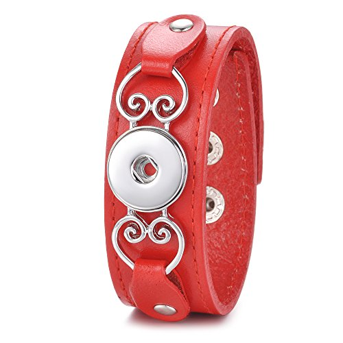 Garden Charms Ginger Snap Jewelry Genuine Leather Bangle with 18mm Snap Button Charms (Red)