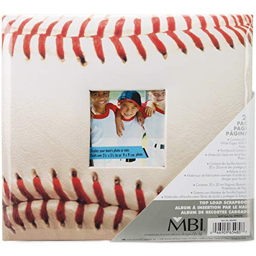 MCS MBI 9.6x8.5 Inch Baseball Theme Scrapbook Album with 8x8 Inch Pages with Photo Opening (865480)