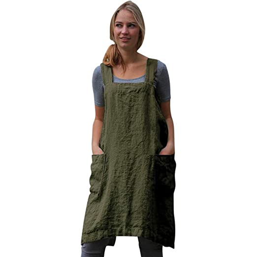 2c056344c6 Amazon.com  Usstore Women Girls Pinafore Dress Cotton Linen Loose Widen  Sling Pockets Back Cross Apron Home Garden Work Uniform  Clothing