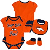 NFL by Outerstuff NFL Denver Broncos Newborn & Infant Mini Trifecta Bodysuit, Bib, and Bootie Set Orange, 12 Months