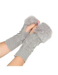 Alamana Winter Women Faux Fur Knit Half Hand Fingerless Gloves Thicken Mitten