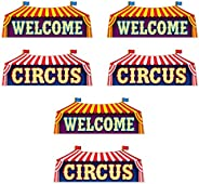 """Beistle Circus Sign Wall Cut Outs 6 Piece Birthday Party Decorations, 9.25"""" x 23.25"""", Red/White/Y"""