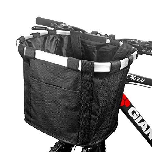 GLE2016 Bike Basket, Foldable Small Pet Cat Dog Carrier Front Removable Bicycle Handlebar Basket Quick Release Easy Install Detachable Cycling Bag Mountain Picnic Shopping (Black)