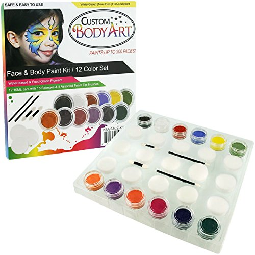 Kustom Body Art 12 Color Primary Face Paint Color Set. Large 10-ml Jars with Applicator Kit. A Full 12 Color Rainbow Pallet, Perfect for Face Painting At Any Children's Party. ()
